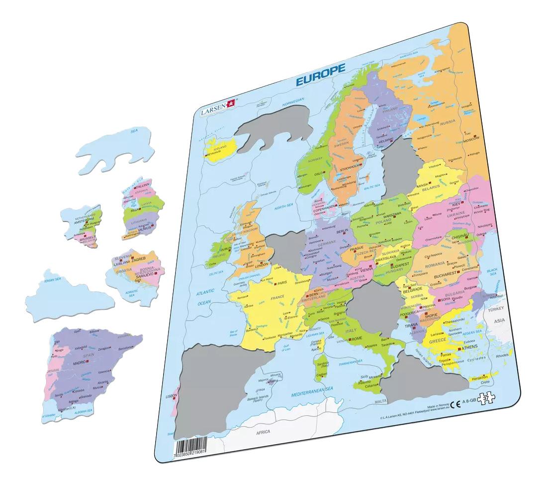 Купить Пазл Larsen Политическая карта Европы, Пазлы