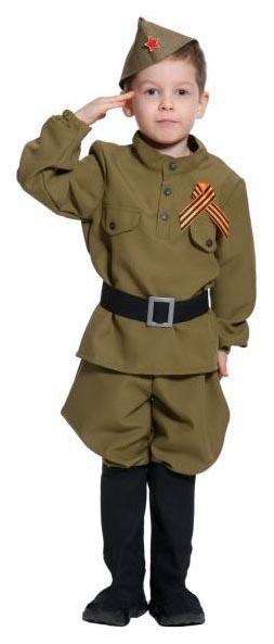 Купить 5098, Карнавальный костюм Карнавалофф Военный, цв. хаки р.134,