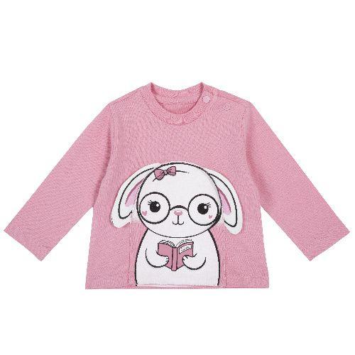 Купить 9006813, Лонгслив Chicco Зайка для девочек р.74 цв.розовый, Кофточки, футболки для новорожденных