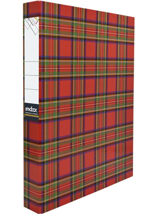 Папка-файл Index на 2 кольцах, лам., Шотландка, диаметр 30мм