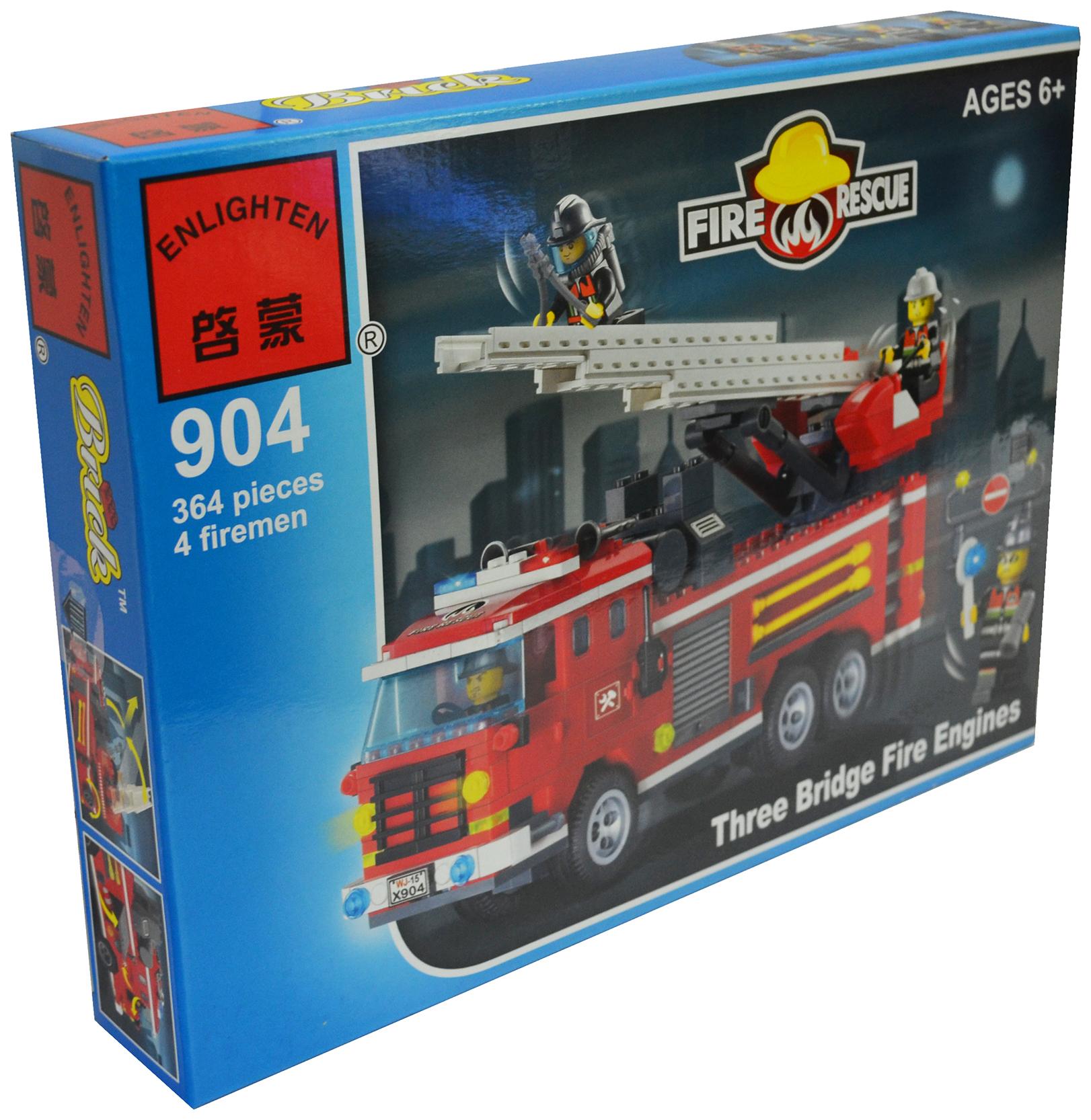 Купить Конструктор Brick Пожарная команда, 364 детали BRICK904, Конструкторы пластмассовые