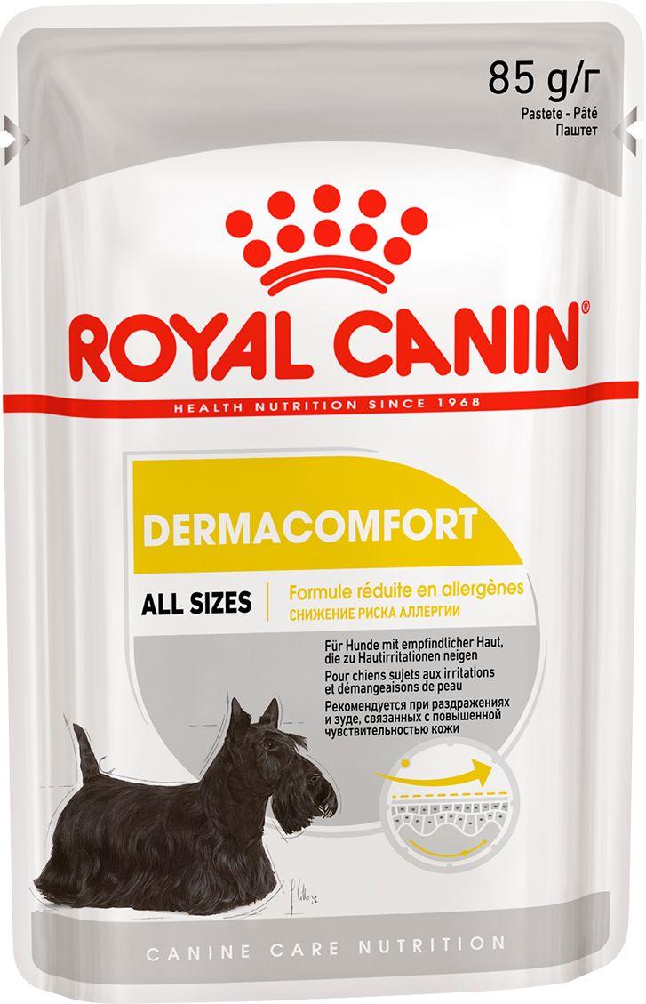 Влажный корм для собак ROYAL CANIN Dermacomfort, для чувствительной кожи, 12шт по 85г