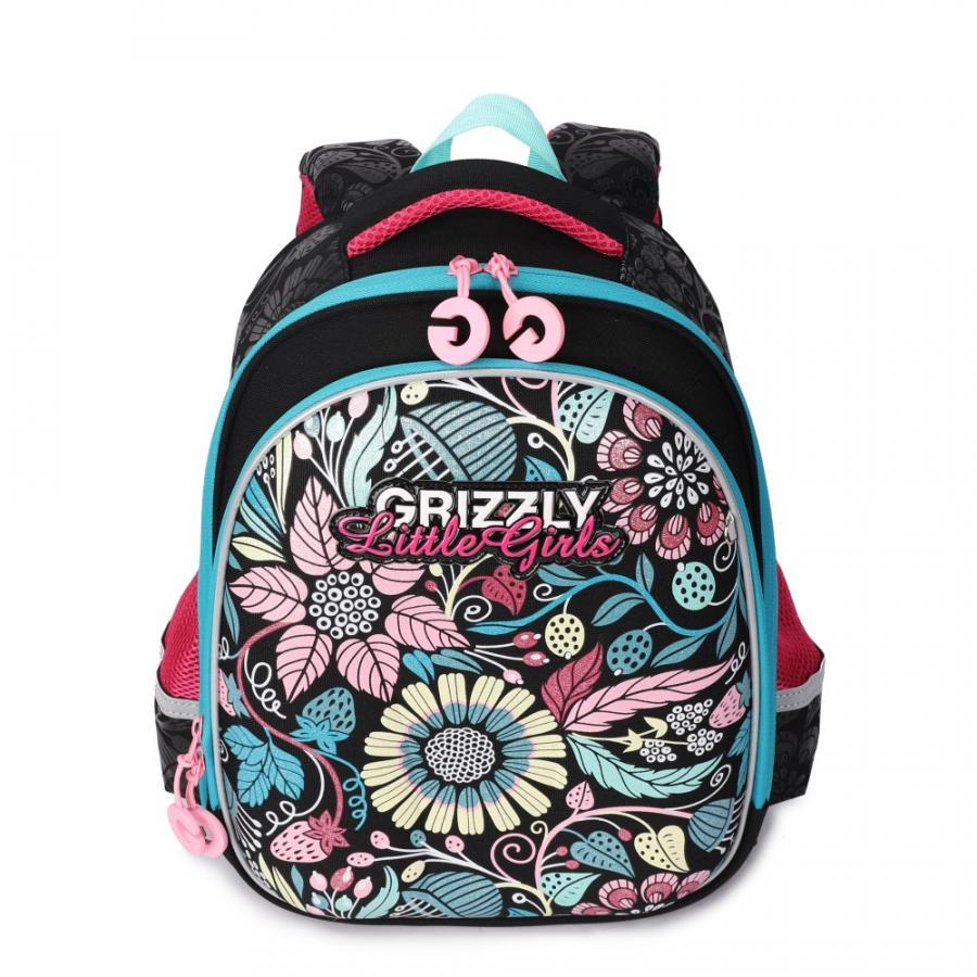 Купить Школьный рюкзак для девочки Grizzly RA-979-5 черный, Школьные рюкзаки и ранцы