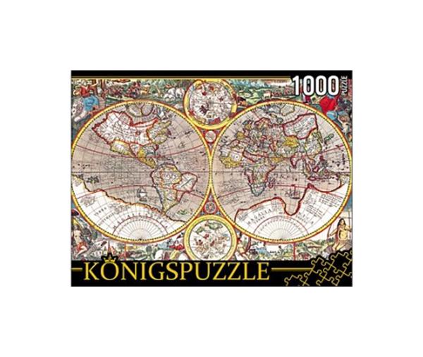 Пазл Konigspuzzle Древняя карта Мира КБК1000-6511 1000 деталей