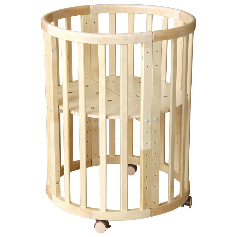 Круглая/овальная кроватка-трансформер Polini Kids Simple 911 натуральная