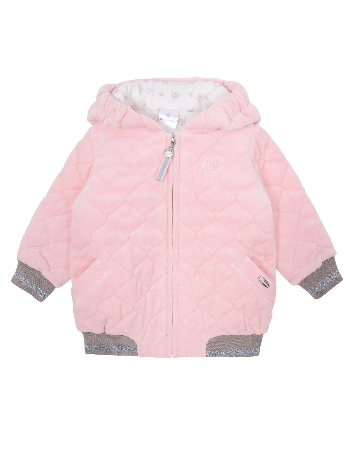Куртка для девочки Мамуляндия 19-508, Велюр, Розовый р. 74