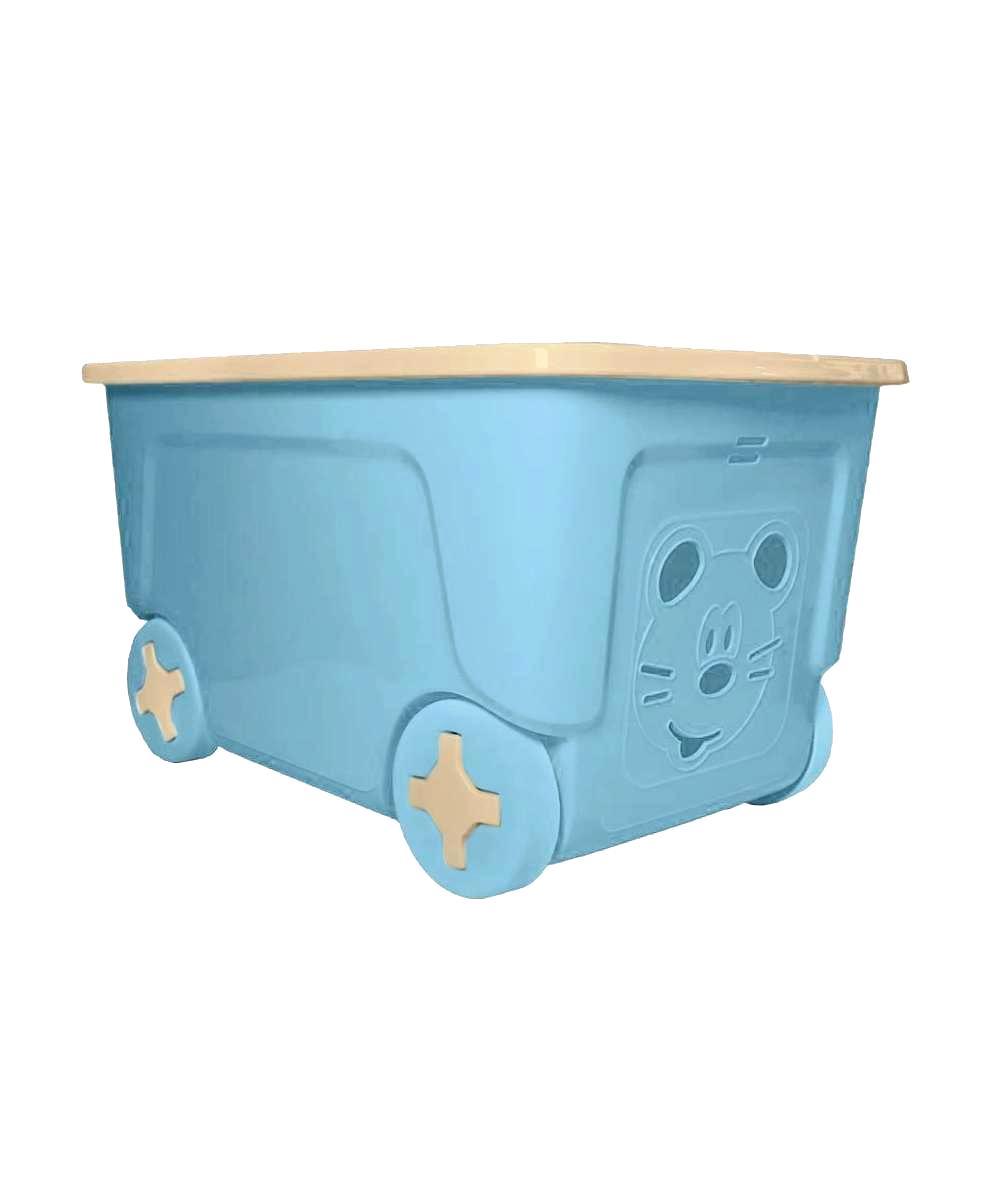 Ящик для игрушек Little Angel COOL  на колесах 50 литров голубой