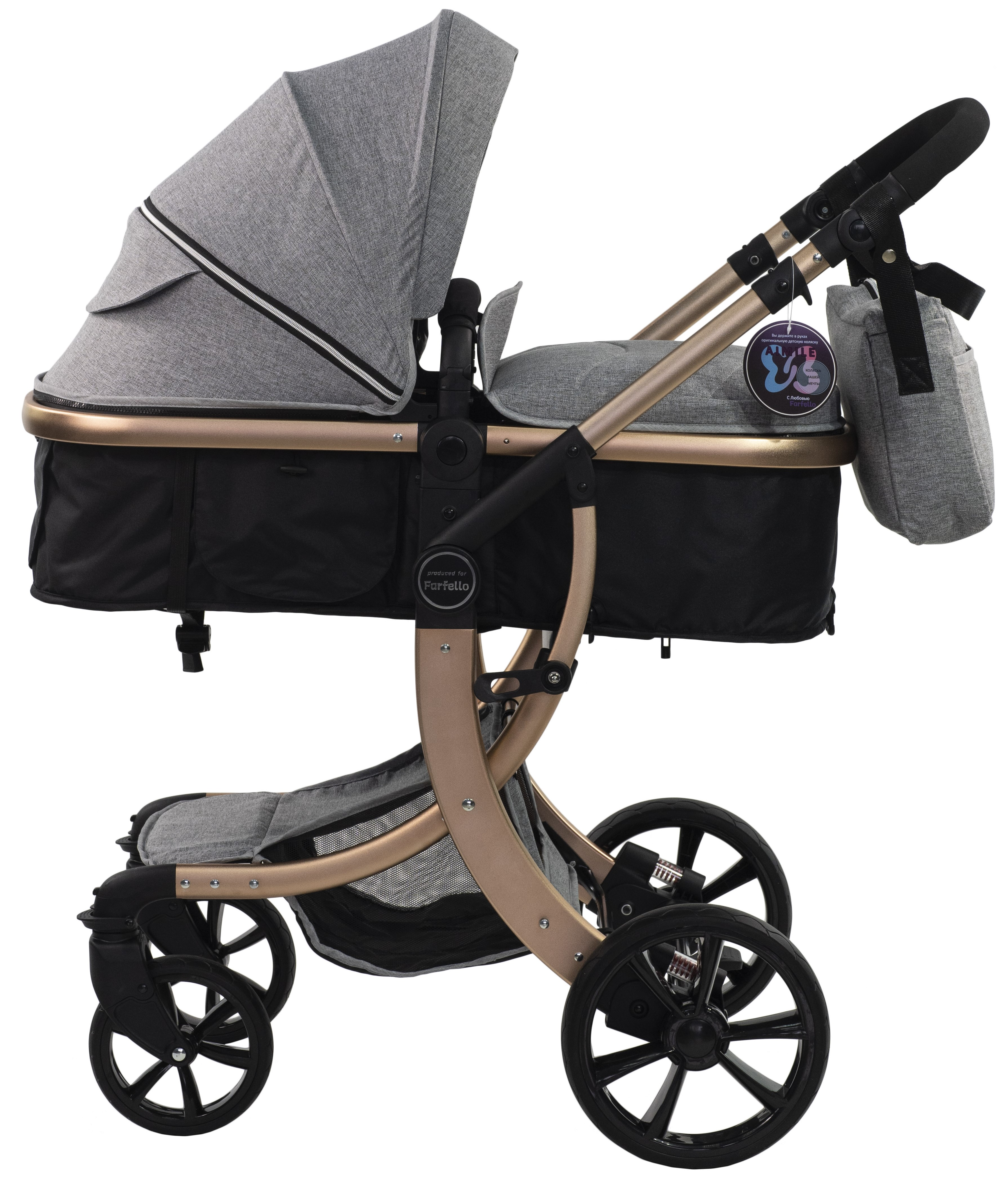 Купить Коляска трансформер Aimile Gold, ТM Farfello, серый, FTG-2, Детские коляски трансформеры