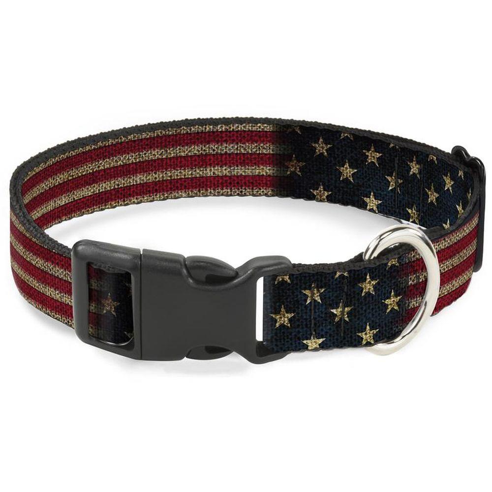 Ошейник для собак Buckle-Down Флаг США, с пластиковой застежкой, разноцветный, S, 23-38 см фото