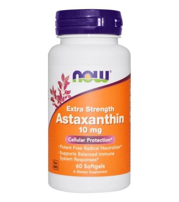 Астаксантин, 10 мг, 60 капсул, NOW фото