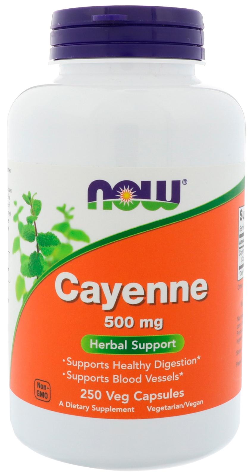 Купить Добавка для здоровья NOW Cayenne 250 капс. натуральный