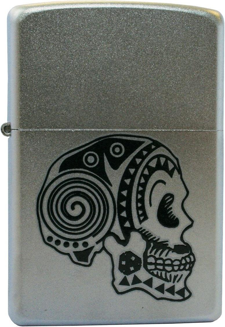 Зажигалка Zippo №205 Tattoo Skull Satin Chrome фото