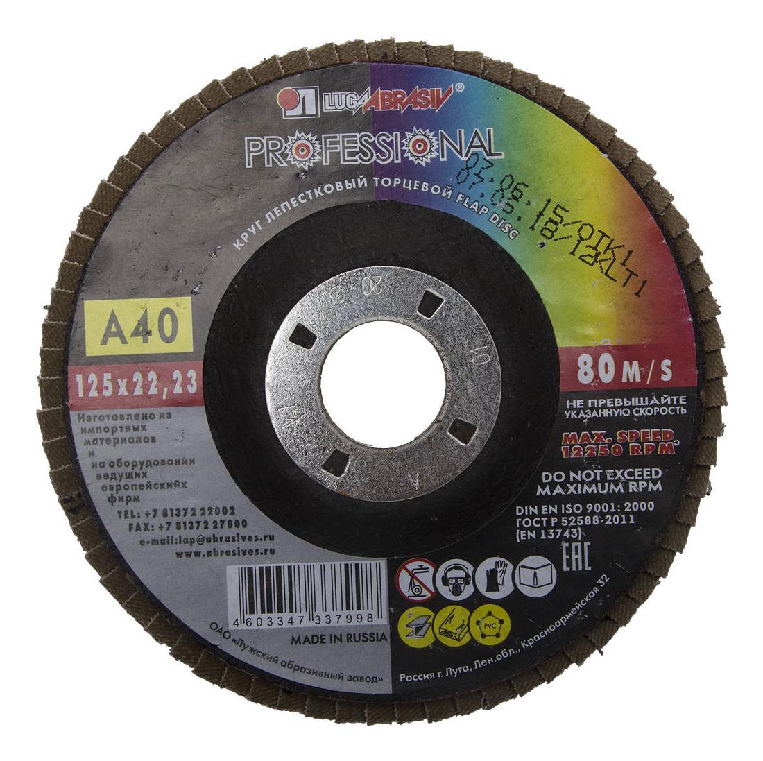 Диск лепестковый для угловых шлифмашин ЛУГА 3656-125-40 фото