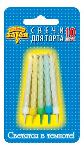 Купить Веселая затея 1502-1156 свечи для торта с подставкой 6 см 10 шт, Свечи праздничные
