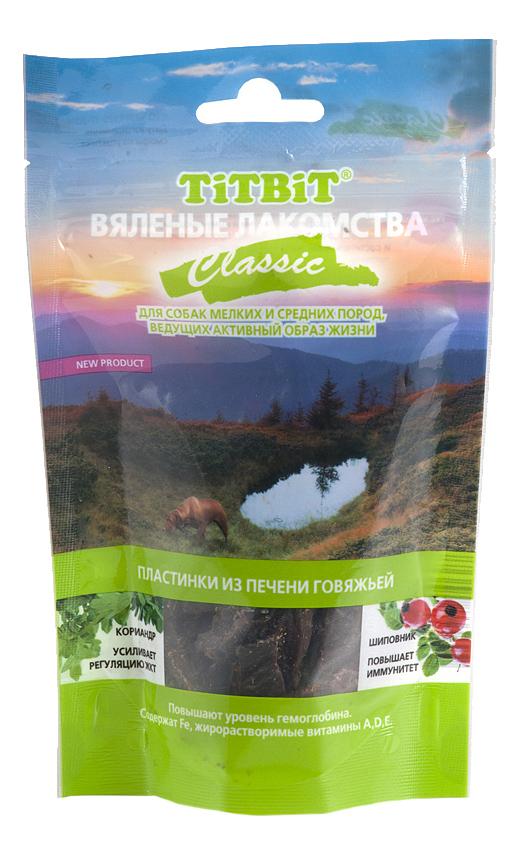 Лакомство для собак TiTBiT Вяленые лакомства, пластинки из печени говяжьей Classic, 60г