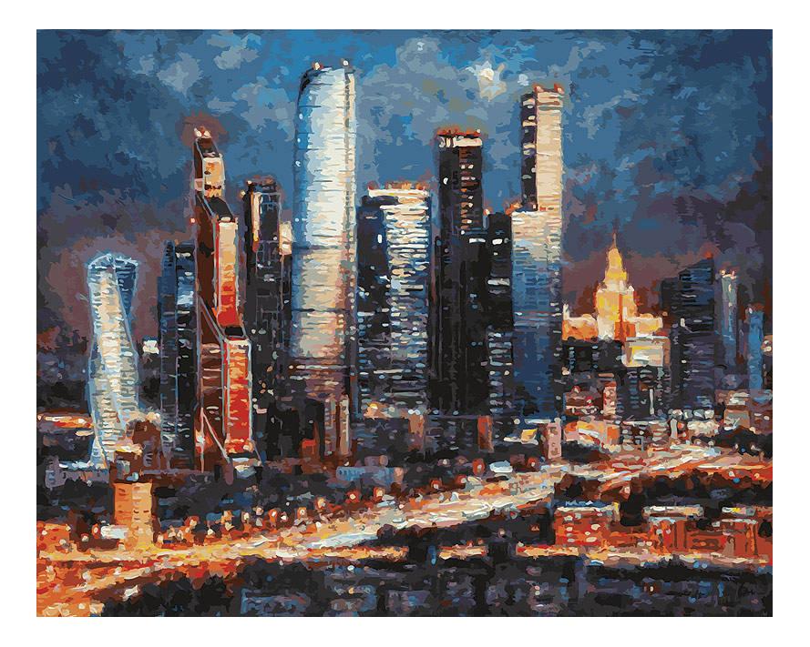 Раскраска по номерам Белоснежка Вечерние огни Москва сити