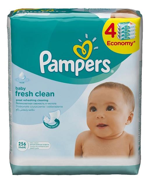 Купить Детские влажные салфетки 64 шт Baby Fresh Clean Сменный блок Quatro 4x64 PA-81484122, Pampers