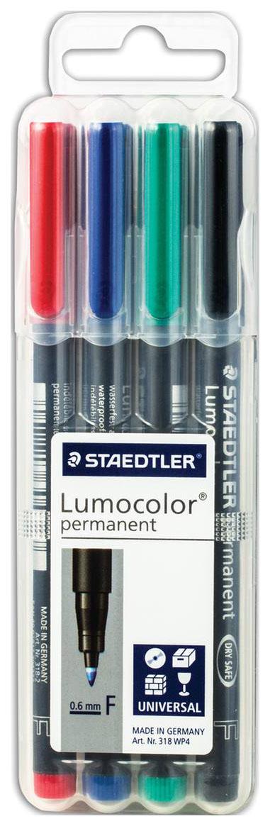 Набор перманентных маркеров Staedtler Lumocolor 4 цвета