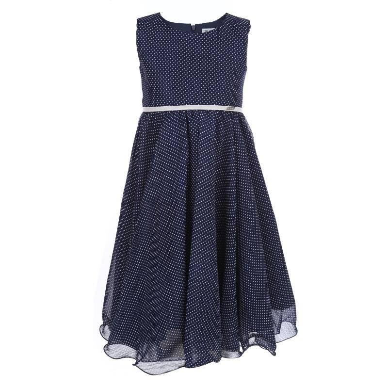 Платье Горошек UNONA D'ART, цв. синий, 134 р-р, Детские платья и сарафаны  - купить со скидкой