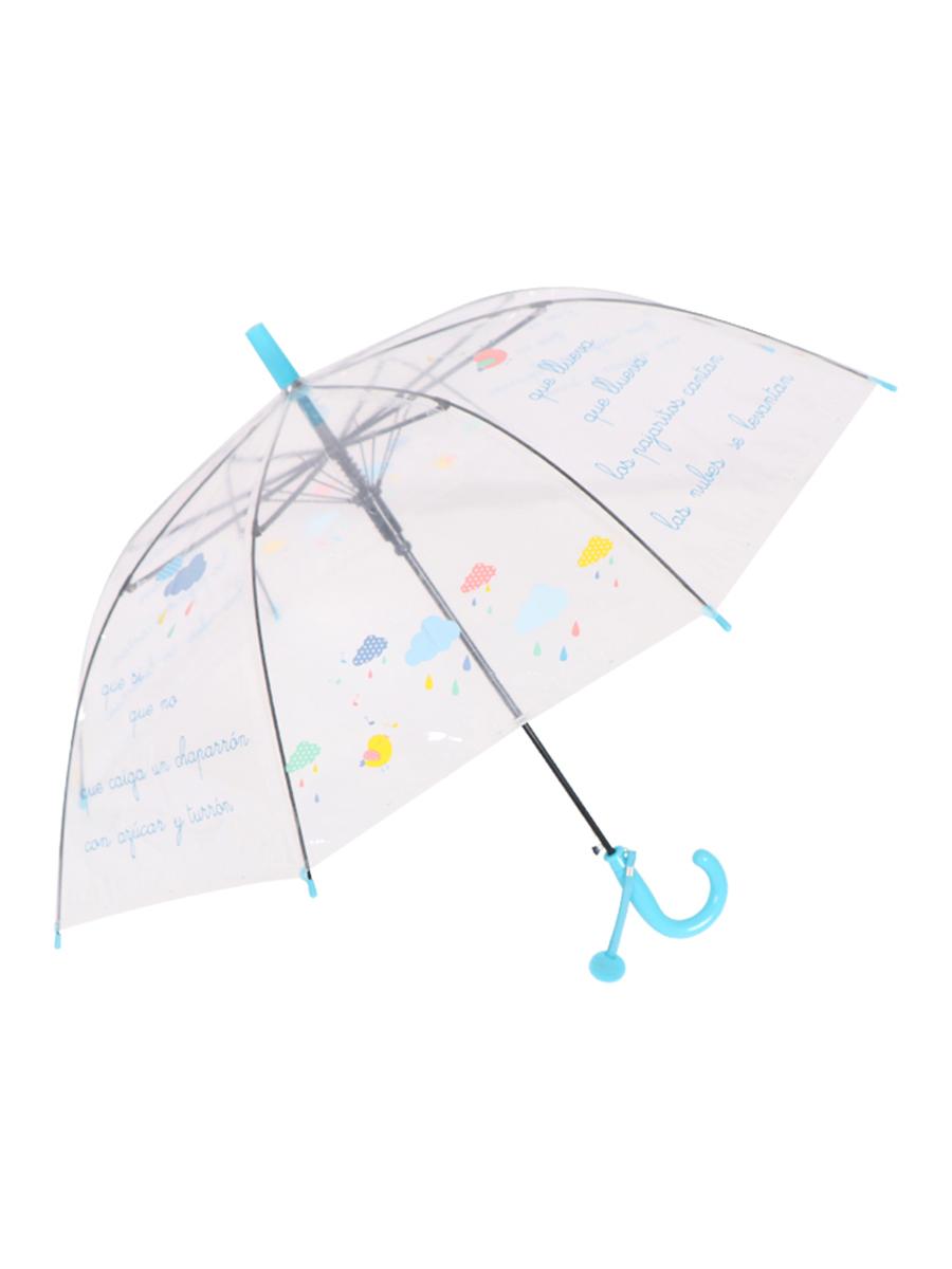 Зонт трость МихиМихи Облака прозрачный купол, голубой