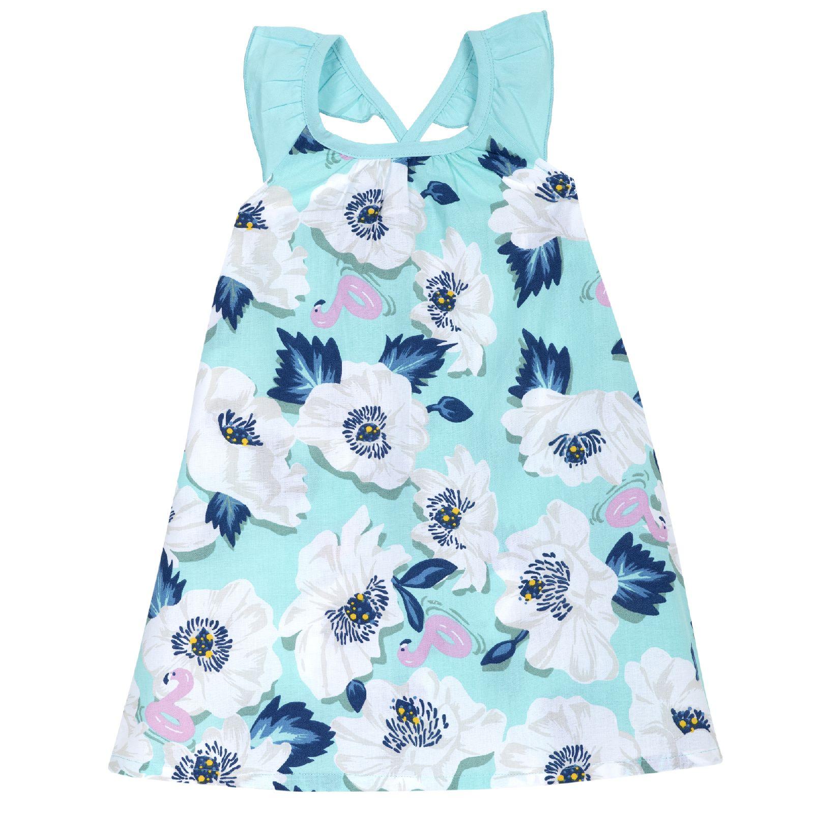 Купить 09003468, Платье Chicco р.104, Цветы, цвет бело-голубой, Платья для девочек