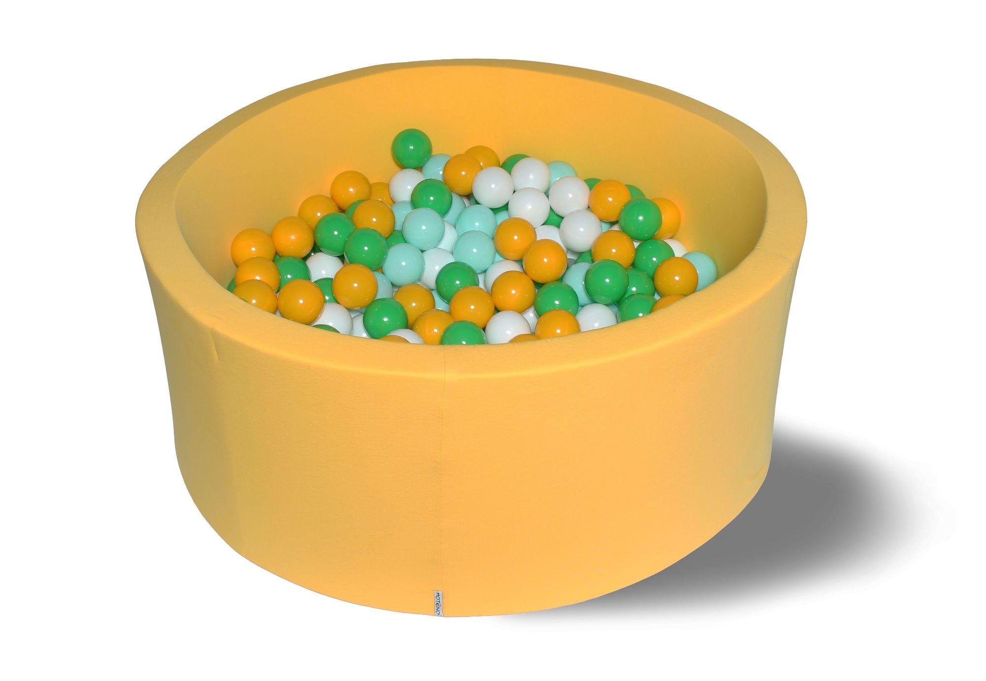 Купить Сухой игровой бассейн Солнечная поляна желтый 40см с 200 шарами: желт, бел, зелен, мятн, Hotenok, Сухие бассейны
