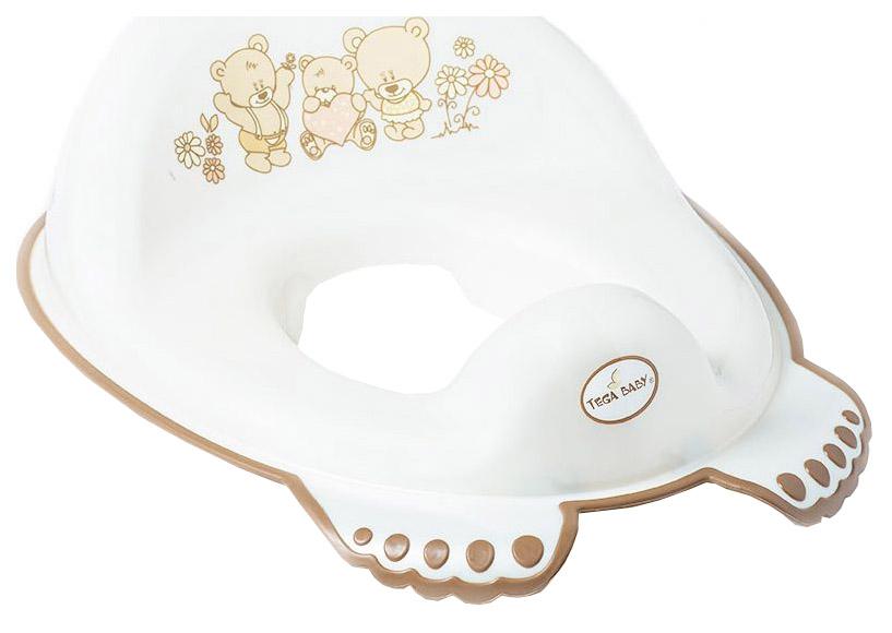 Купить Накладка Тега на унитаз мишка антискользящая белый, Tega Baby, Детская накладка на унитаз