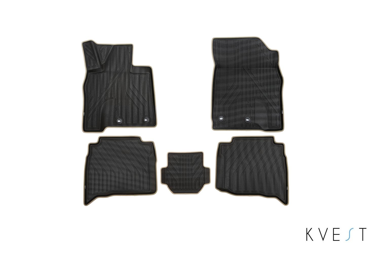 Коврики в салон KVEST для LEXUS LX, 2015, 5 шт. полистар, черный, бежевый