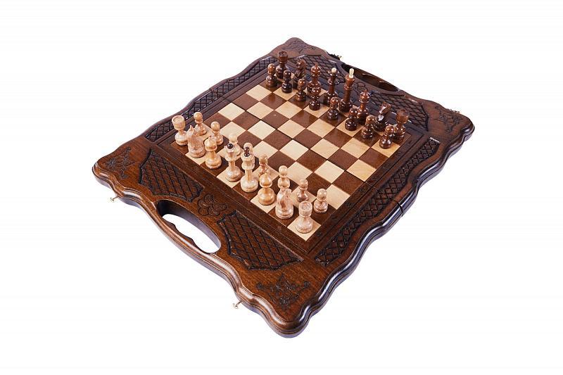 Купить Шахматы и нарды резные Haleyan 139, с ручкой 30,