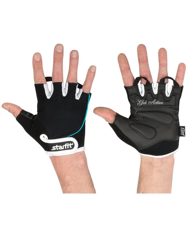 Перчатки для фитнеса StarFit SU 111, черные/белые/голубые,