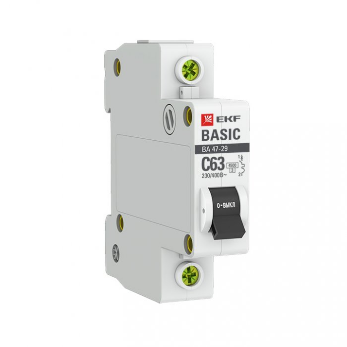 Автоматический выключатель EKF 1P 63А (C) 4,5кА ВА 47-29 Basic