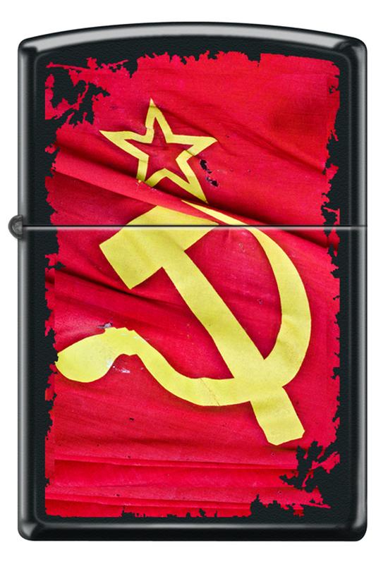Зажигалка Zippo Soviet Flag Sickle Black Matte фото