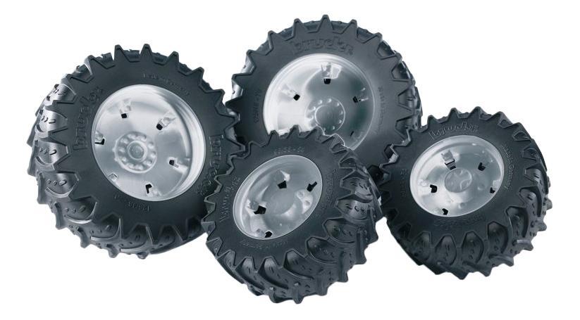 Шины Bruder для сдвоенных колёс с серебристыми дисками 4 шт. 12,5 см фото