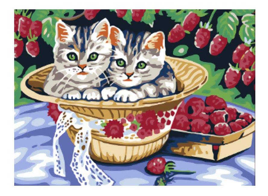 Раскраска по номерам Белоснежка Котята в саду