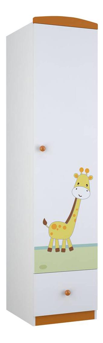 Купить Шкаф детский Polini Basic Джунгли пенал белый-оранжевый, Шкафы в детскую комнату