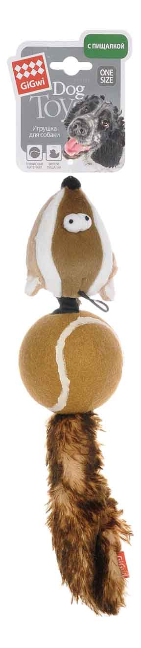 Мягкая игрушка для собак GiGwi Барсук с 2-мя пищалками, длина 32 см фото