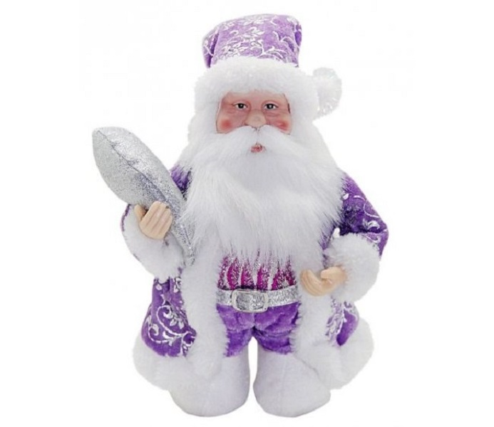 Кукла дед мороз 20 см под елку фиолетовый Новогодняя сказка 972435