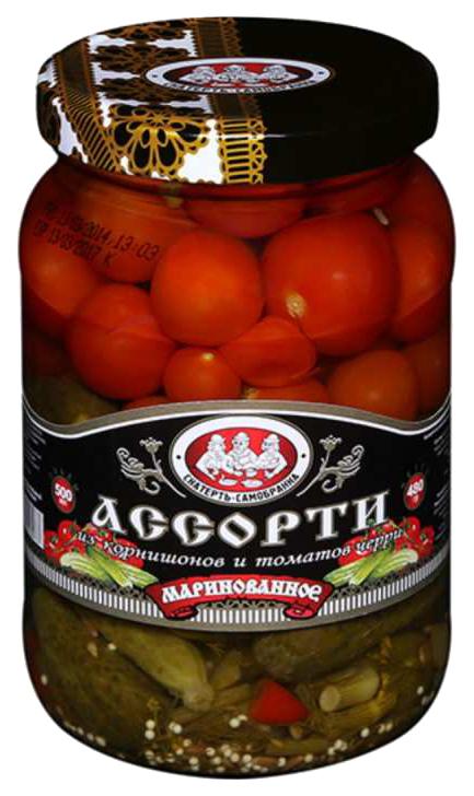 Ассорти корнишонов и томатов черри Скатерть самобранка 500 мл фото