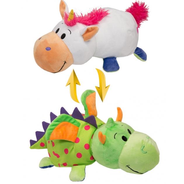 Купить Мягкая игрушка 1 TOY Вывернушка 4 вида 2 в 1, Единорог-Дракон, 40х20х19 см (Т10930), Мягкие игрушки животные