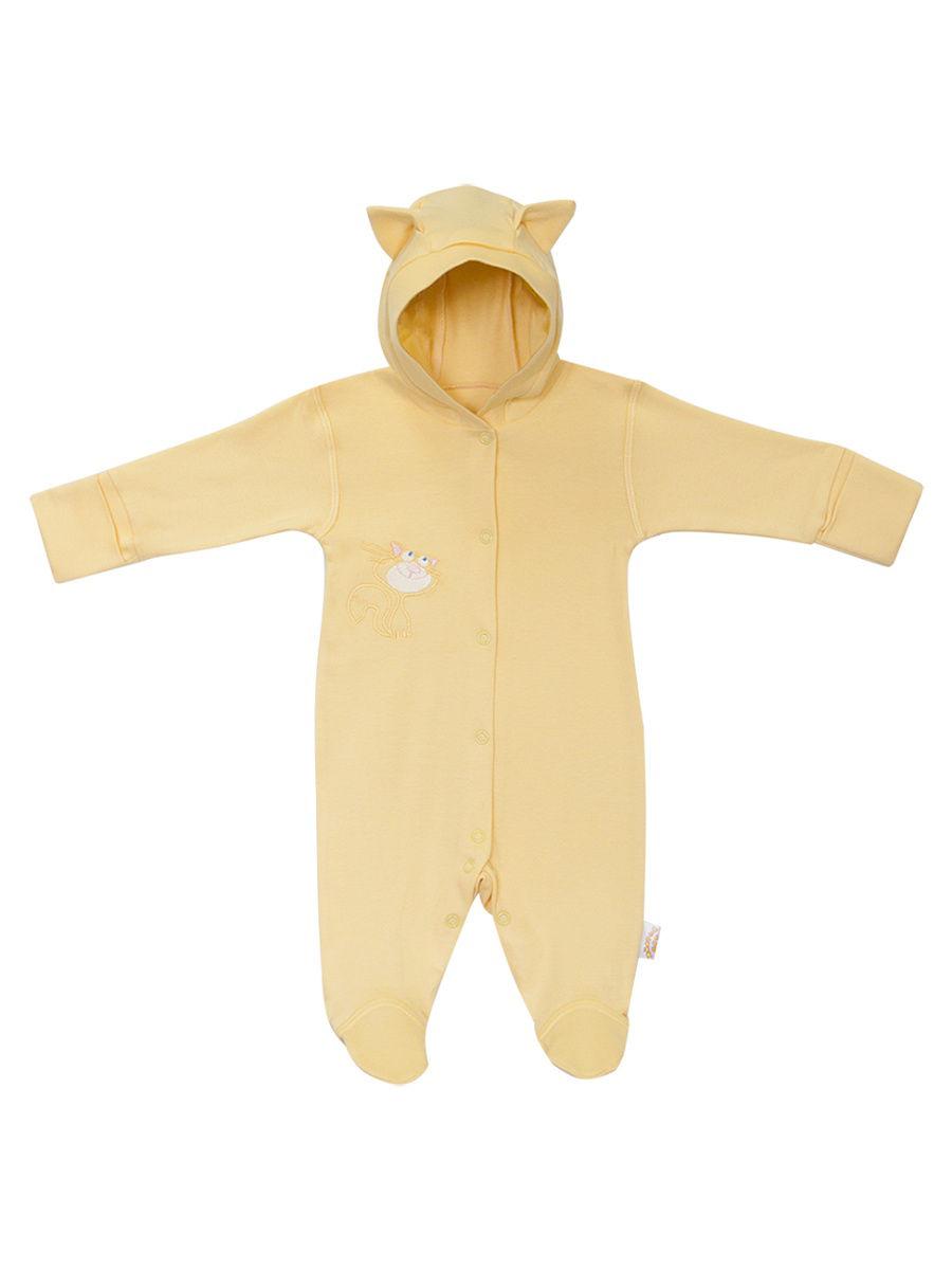 Купить 1105и, Комбинезон Желтый кот Котик желтый, размер 56, Трикотажные комбинезоны для новорожденных