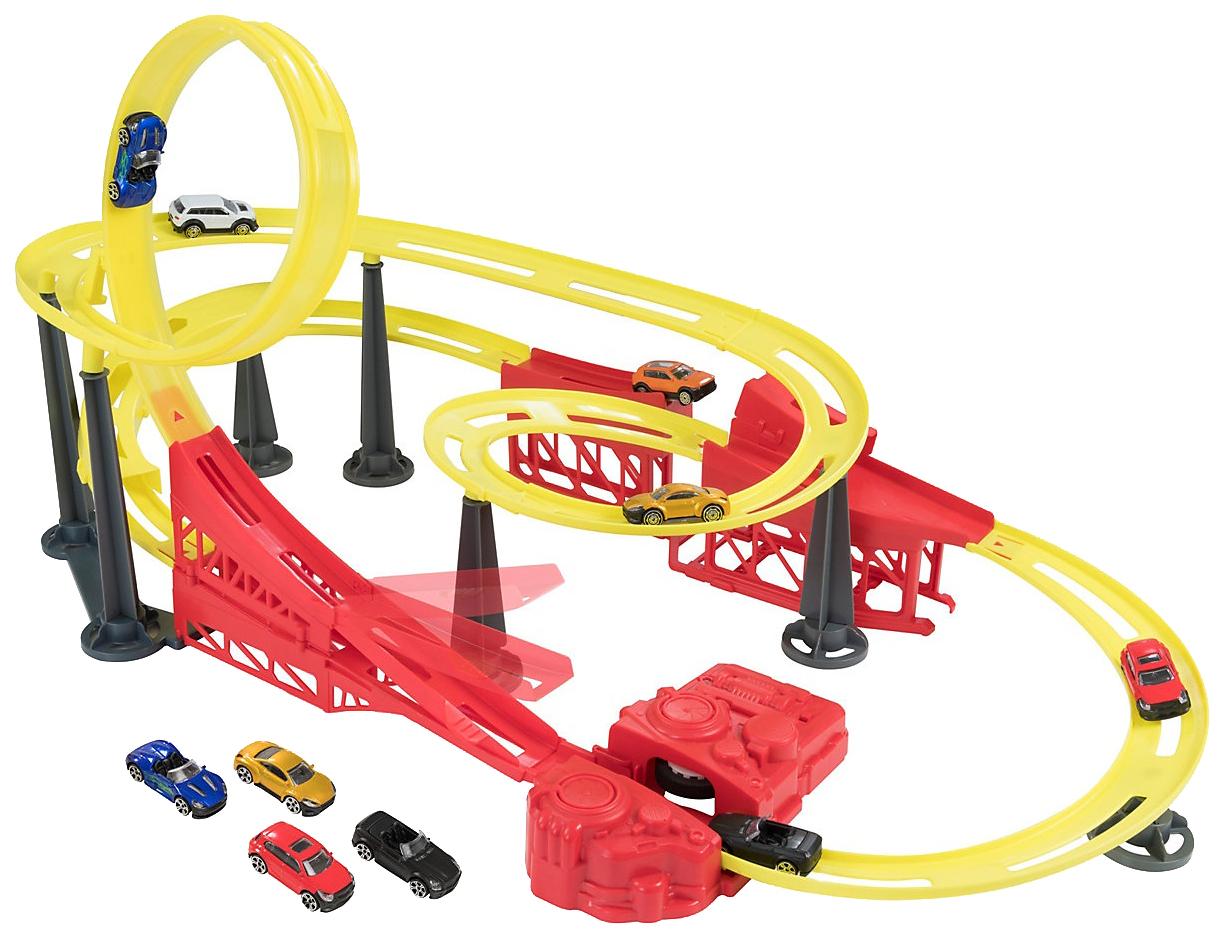 Купить Игровой набор Teamsterz Большая трасса Street Race S/Down с таймером и 5 машинками HTI,