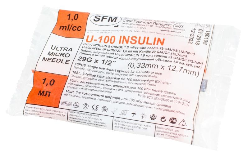 Купить Шприц инсулиновый SFM 3-х компонентный 1 мл 0, 33 х 12, 7 мм 10 шт.