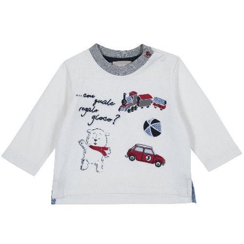 Купить 9006804, Лонгслив Chicco Игрушки для мальчиков р.74 цв.белый, Кофточки, футболки для новорожденных
