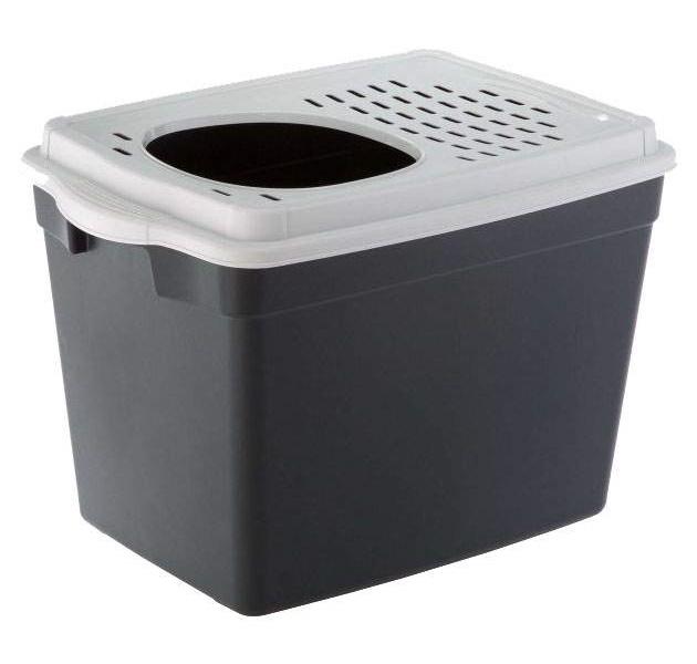 Туалет для кошек Ferplast JUMPY, прямоугольный, черный,