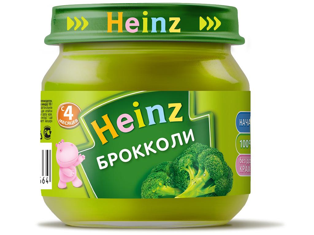 Пюре овощное Heinz брокколи, 4 мес., 12шт