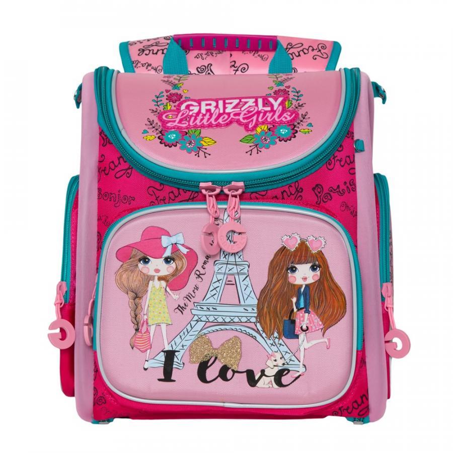 Школьный Рюкзак для девочки Grizzly Ra-971-2 Жимолость - Розовый