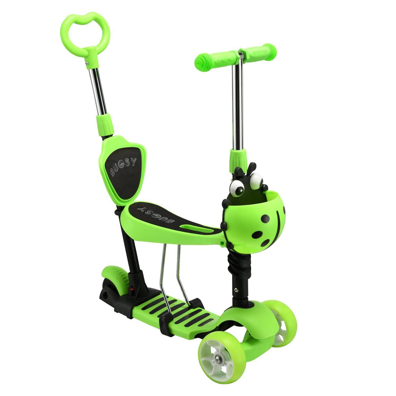 Самокат-беговел с ручкой RGX BUGSY+ LED Green фото