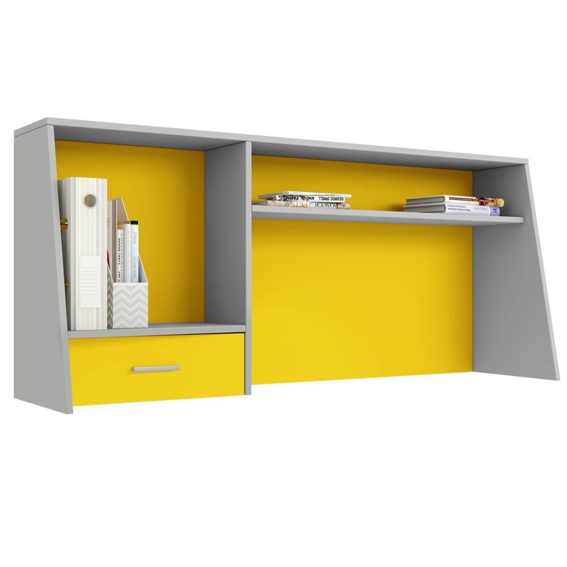 Надстройка для cтола Polini kids Aviv 1450 с ящиком и полкой, серый/желтый