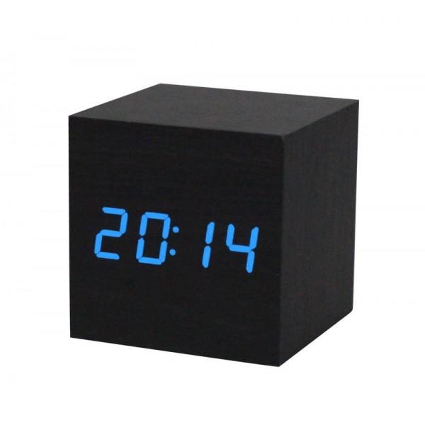 Электронные часы деревянный куб VST-869 (Черный)