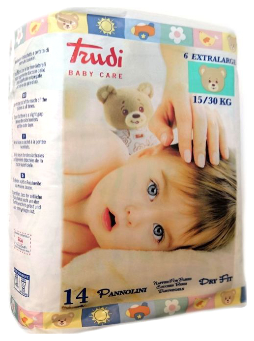Подгузники детские Trudi №6 Extralarg 15-30 кг 14 штук